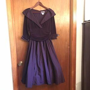 Jessica Howard Portrait collar a-line midi dress